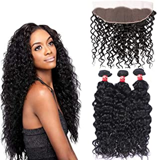 Haha Brazilian Water Wave 3 Bundles With Frontal Closure 8A Unprocessed Human Virgin Hair Bundles With Lace Frontal 13X4 Ear To Ear Wet and Wavy Human Hair Natural Color 26 28 30+24 Free Part