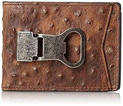 Nocona Belt Co. Double Bifold Money Clip Ostrich, Brown