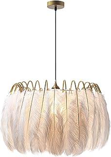 XCDM Abat-Jour en Plumes de Style européen créatif, plafonnier à tête Unique, Lampe de décoration Romantique, Chambre pour...