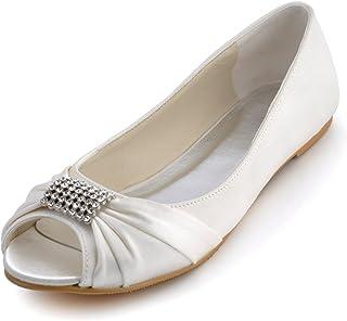 ElegantPark EP2053 Women Flats Peep Toe Rhinestones Wedding Bridal Shoes 626356fd30