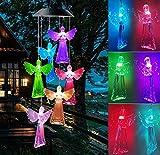 Campanelli eolici solare, Campane a vento solare angelo che cambiano colore Luce a LED Indoor Outdoor Patio Prato Giardinaggio Regali Decorazione di festival Per il compleanno Regali di San Valentino