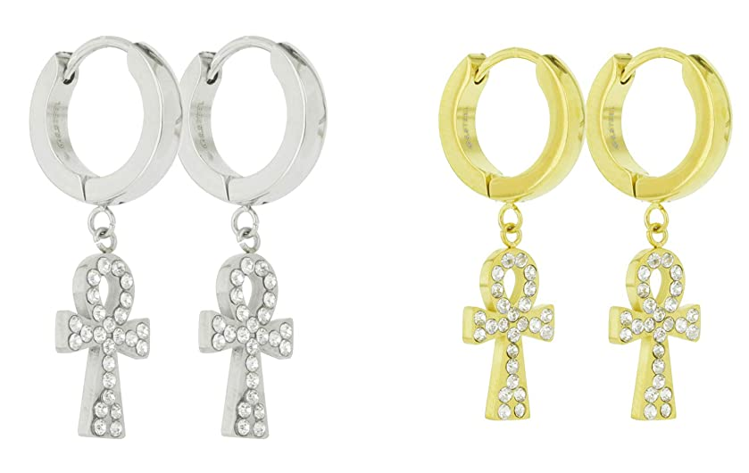 Unisex Stainless Steel CZ Egyptian ANKH Cross Dangle Hanging Hinged Hoop Earrings Small Iced out Ankh Cross Drop Dangling Earrings (Silver, Gold, Black)