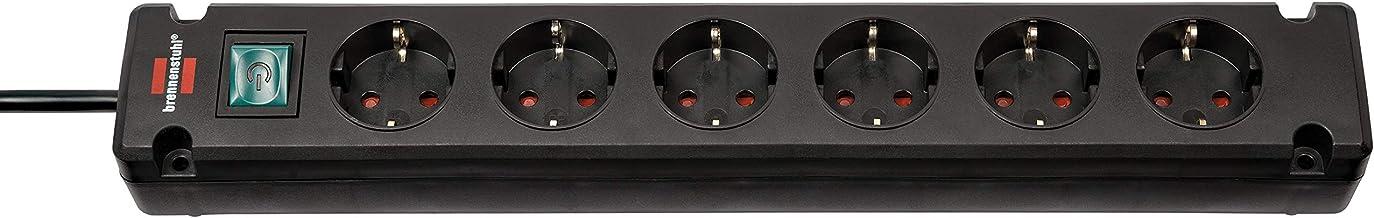 Brennenstuhl Bremounta Stekkerdoos, 6-Voudig (Stekkerblok voor bevestiging, 3m Kabel, met hogere contactbescherming) Zwart