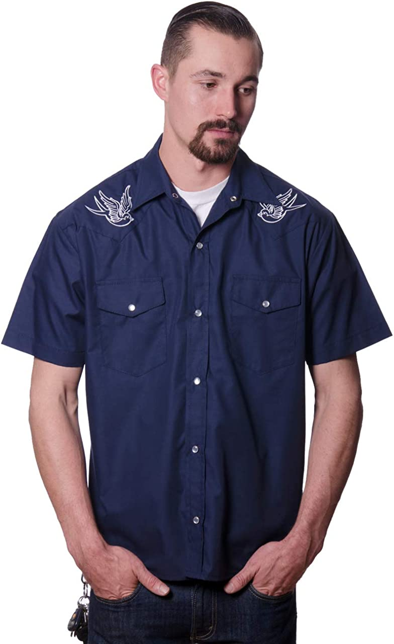 Steady Clothing Men's Sparrow Popular product Western Button Shirt Up Navy 67% OFF of fixed price