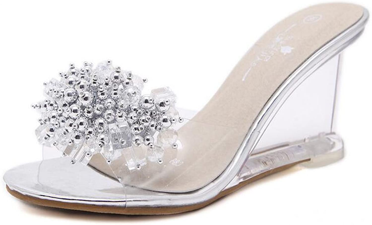 Women's shoes PVC Glitter Spring Summer Club shoes Heels Wedge Heel Crystal Heel Translucent Heel for Wedding Party & Evening