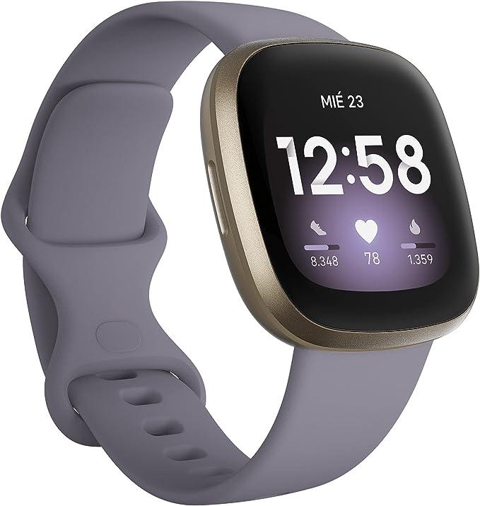 Fitbit Versa 3 - Exclusivo de Amazon - Smartwatch de salud y forma física con GPS integrado, análisis continuo de la frecuencia cardiaca, Alexa integrada y batería de + 6 días