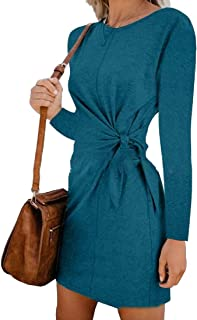 ouxiuli Womens Casual Long Sleeve Twist Tie Front Knot Midi Dress Pleated T Shirt Dress for Autumn