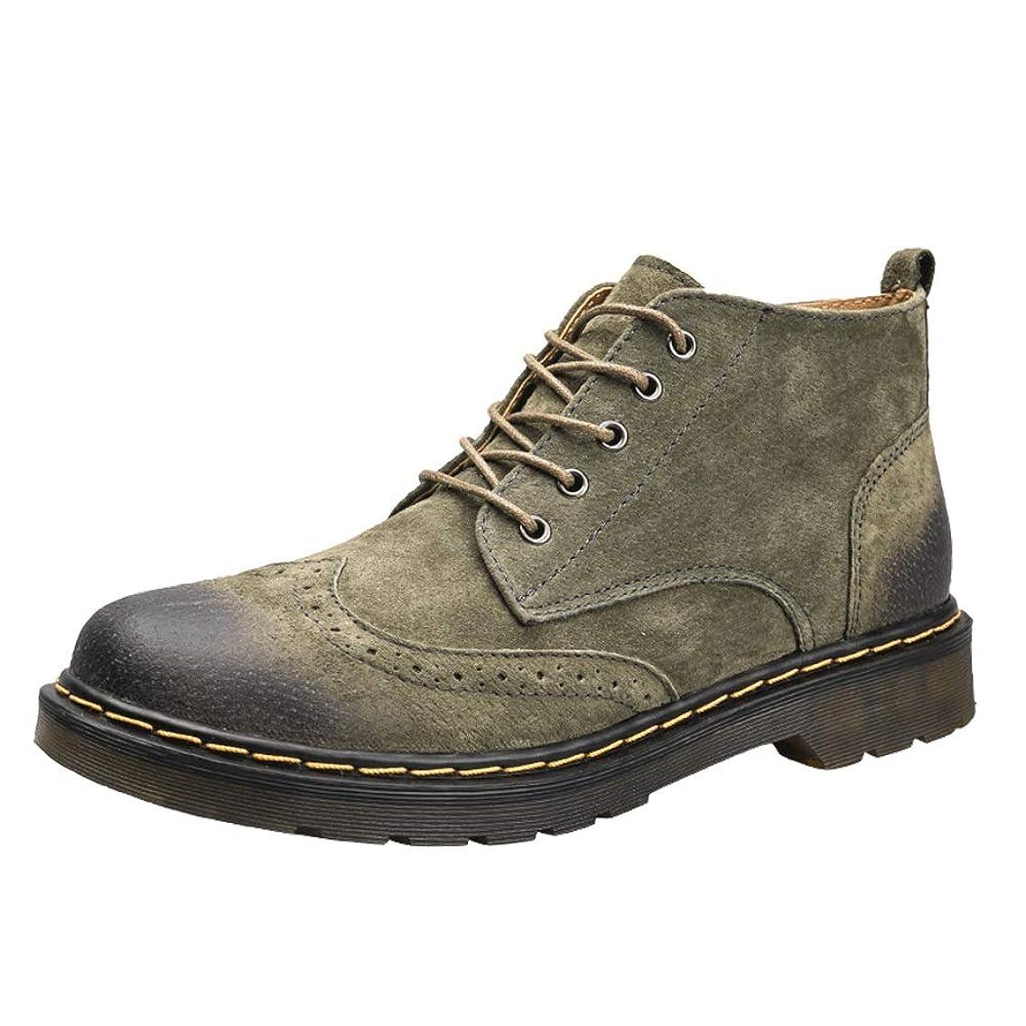 証明する相関するインポートCHENJUAN 靴メンズファッションアンクルブーツカジュアルシンプルで快適なレトロブローグスタイルひもで締めますハイトップブーツ