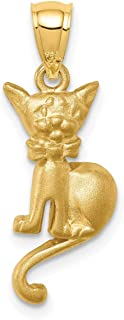 Lex & Lu 14k Yellow Gold Brushed Cat with Bow Tie Pendant