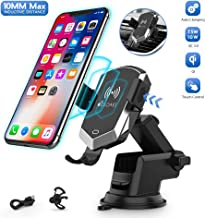 Wireless Car Charger Mount, 10MM Max Inductive Distance Manual Automatic Clamping 10W/7.5W Fast Charging Phone Holder Compatible iPhone 11/11 Pro/11 Pro Max/Xs, Samsung S10/S9/S8
