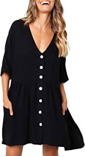 Women Button Down Short Sleeve Tunic Dress V Neck Loose Caual Shift Dresses with Pockets
