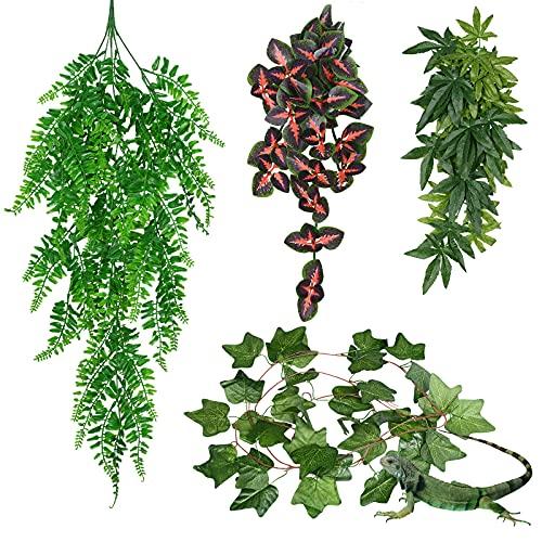YMHPRIDE 4 piezas de plantas artificiales para peceras de reptiles hojas artificiales decoración de hábitat plantas de reptiles plantas artificiales hojas de plástico planta de terrario con ventosa