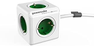 allocacoc PowerCube Extended EU, 5 x uttag och distributör, 230 V Schuko, vit grön