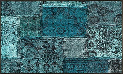 Wash + Dry Vintage Patches türkis Fußmatte, Acryl, grün, 75 x 120 x 0.7 cm
