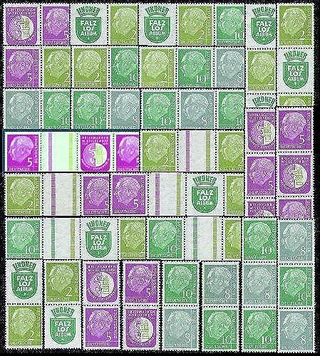 Goldhahn BRD Zusammendrucke W8-S48 Heuss 1956  27 Kombinationen - Briefmarken für Sammler