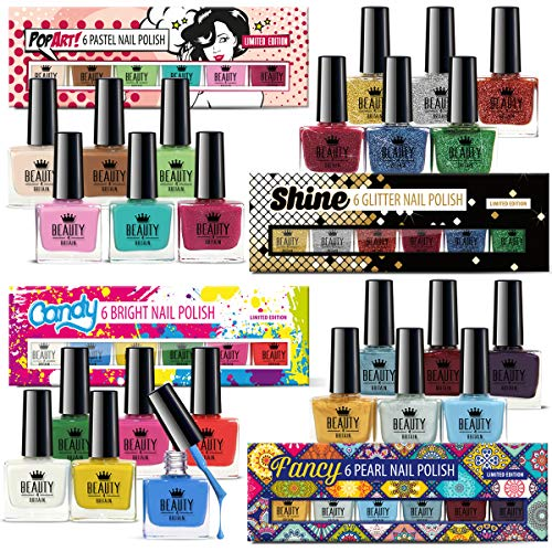 Set de 24 Esmalte de Uñas de Lujo 24 Colores Diferentes Brocado Pastel Perlas Vivo 10 ml