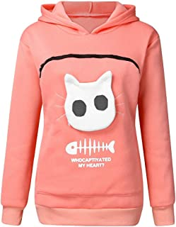 Becobe 🐶 Women's Pouch Hood Sweatshirt, Carry Cat Breathable Tops Pullover Blouse Animal (Pink)