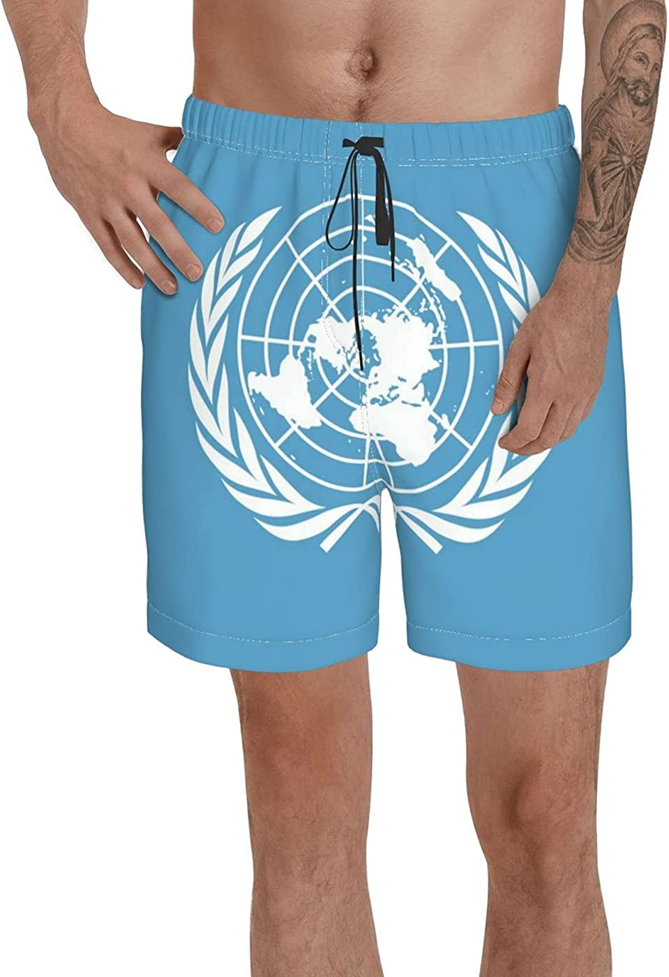 United Nations Flag Men's 3D Printed Funny Summer Quick Dry Swim Short Board Shorts with
