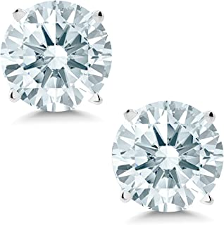 14K White Gold Stud Earrings, 1.68 Cttw, 6MM Round Cut Set with Zirconia from Swarovski