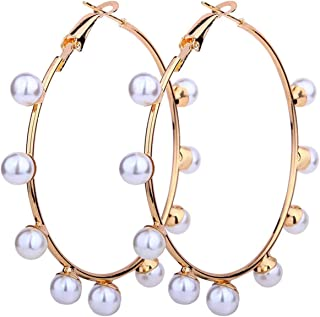Big Circle Imitation Pearl Earring Statement Large Earrings for Women Wedding Gifts Party Fashion Jewelry