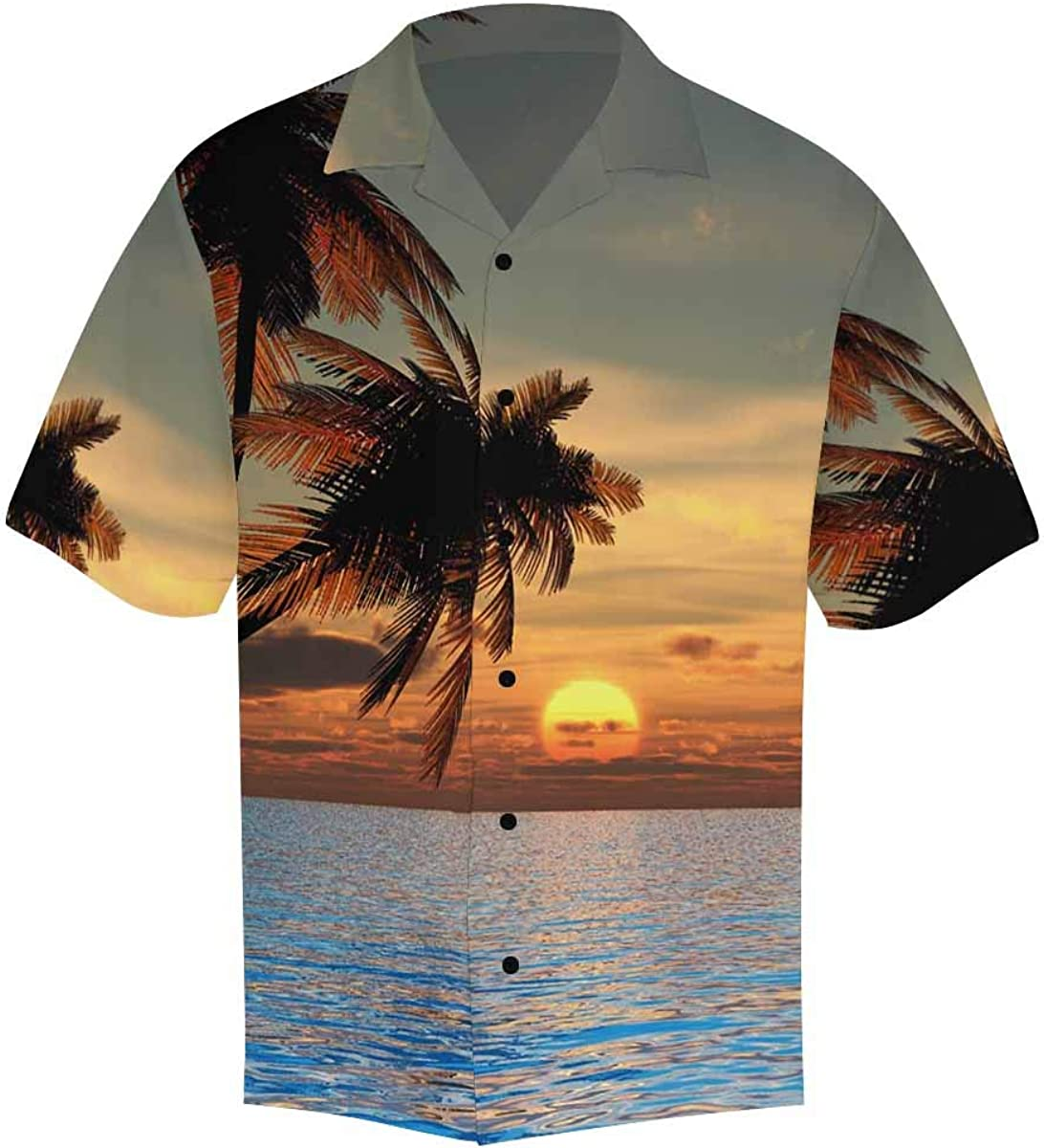 InterestPrint Men's Casual Button Down Short Sleeve Sunset Coconut Palm Trees Hawaiian Shirt (S-5XL)