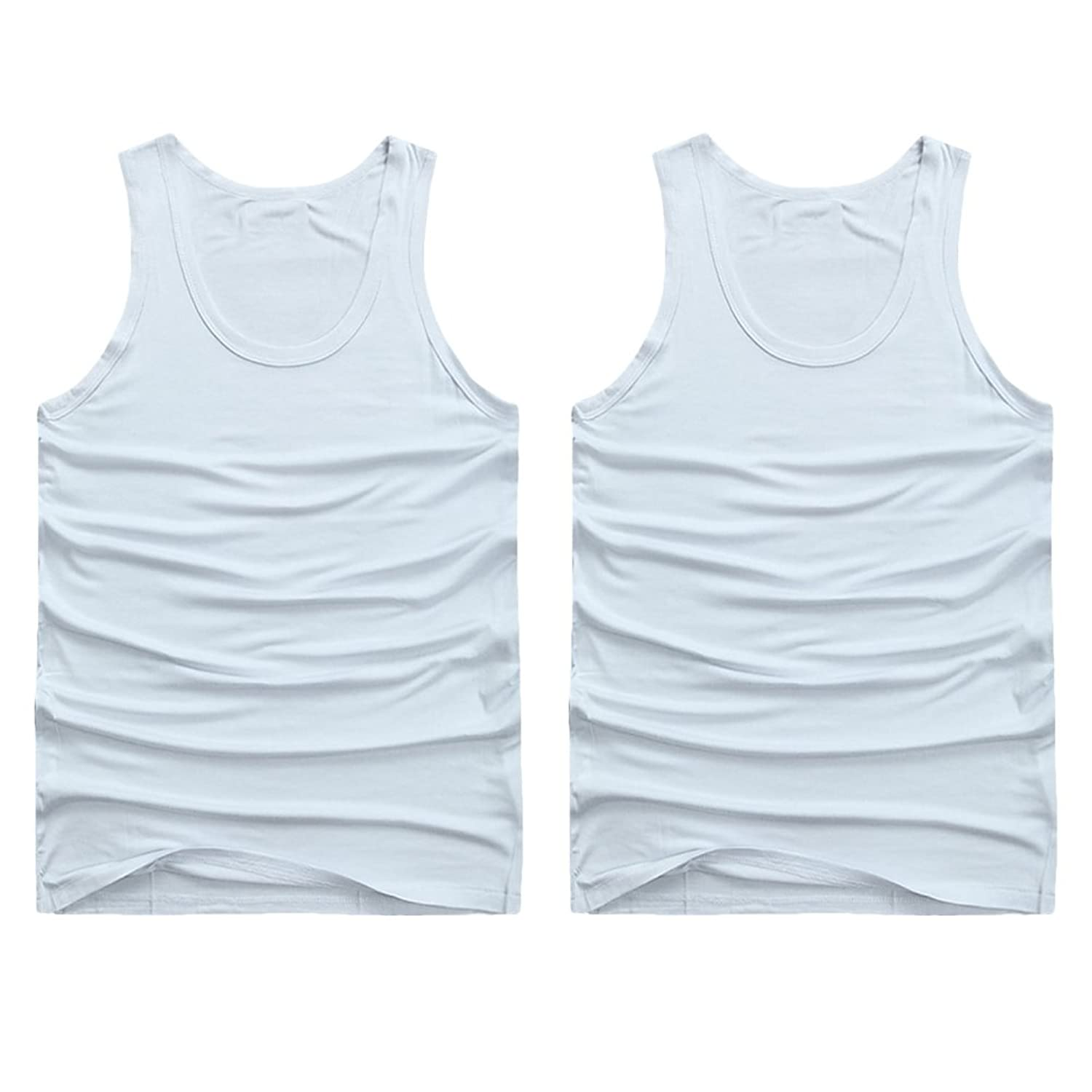Zhhlinyuan メンズタンクトップMen's Elastic Vest Training Gym Lose Weight Shirt[2 Pack]