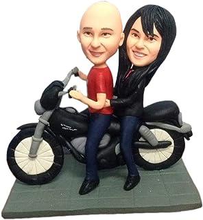 pareja con motocicleta modelo figurilla miniatura estatua pastel de bodas toppers decoraciones fiesta pastel topper bird d...
