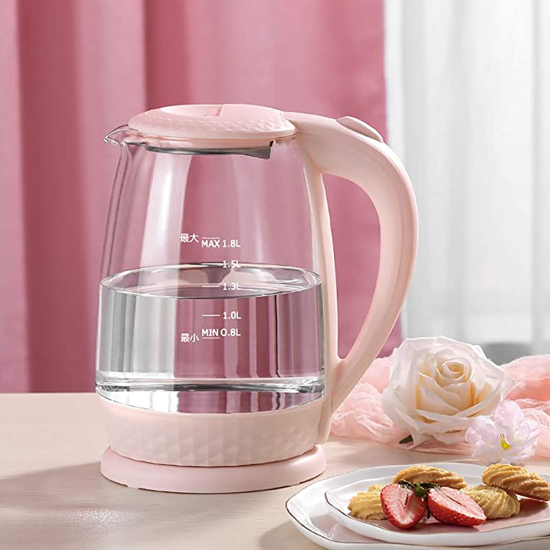 Transparent Glass Electric Kettle 1 8L Bpa Free Mini Office Water Boiler Auto Shutoff Boil Dry Protection Pink