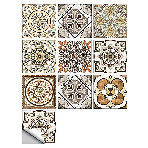 vinilos pared,Pegatinas de azulejos esmerilados con patrón de 10 azulejos, pegatinas de pared impermeables para decoración de cocina y baño de 20 cm-09