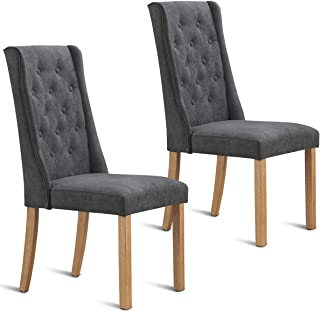 Costway Set of 2 Dining Chair Backrest Cushioned Parsons Dining Side Chair with Solid Wooden Legs,Fabric Button-Tufted, Comfortable Upholstered Back and Seat,Classic Parsons Button Tufted Accent, Lei