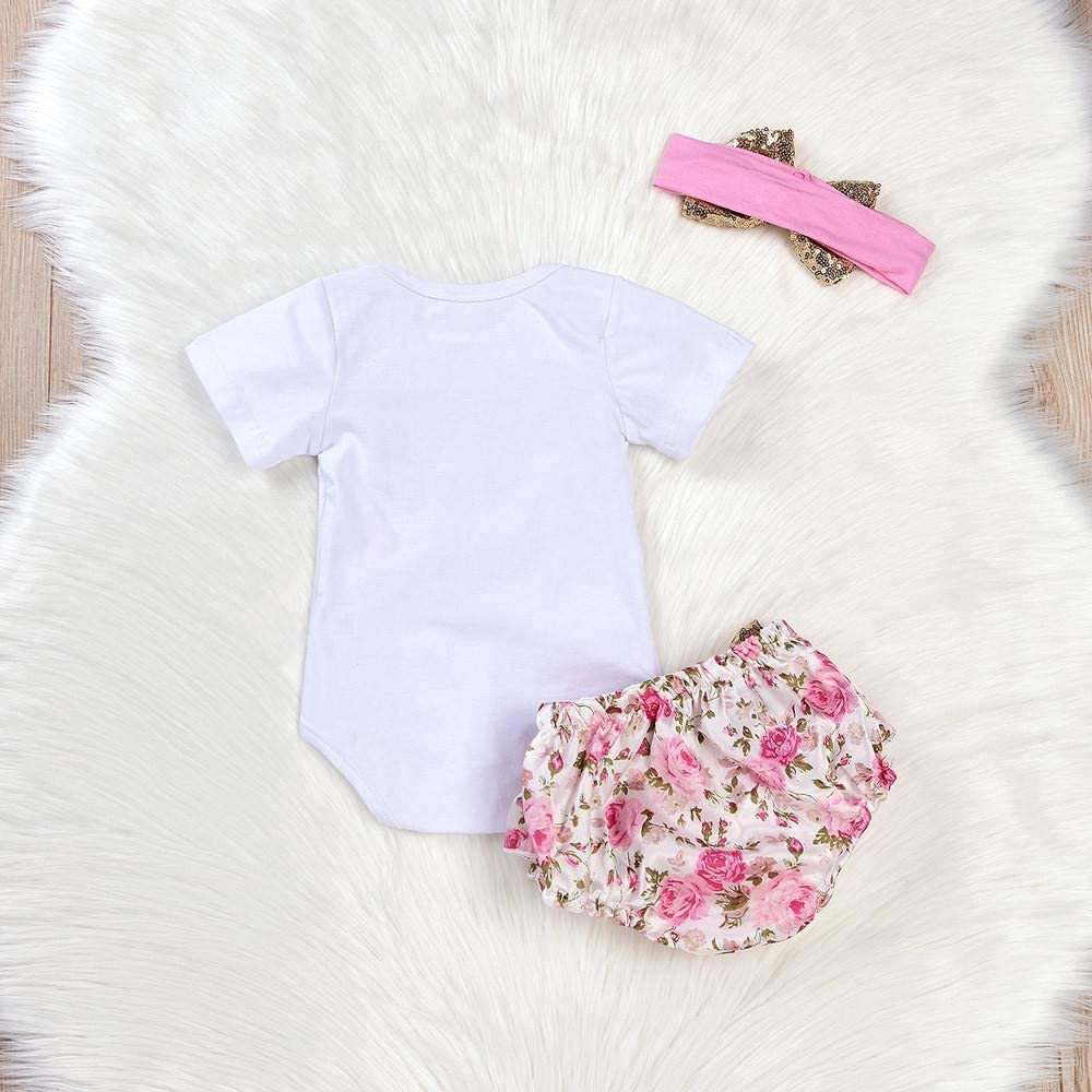 HGWXX7 3Pcs Newborn Infant Baby Girls Letter Print Romper Jumpsuit Floral Shorts Ruffle Skirt Headband Outfits