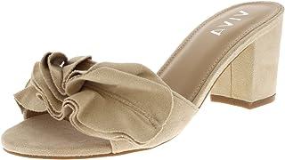 17f23236 Women Bajo Tacón Medio Ante Flor Volante FCorrercido Ponerse Mula Sandalias  Zapatos