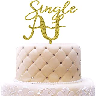 Single AF Acrylic Cake Topper, Finally Divorce Cake Toppers, Freedom Theme Party Decorations, Gold Glitter