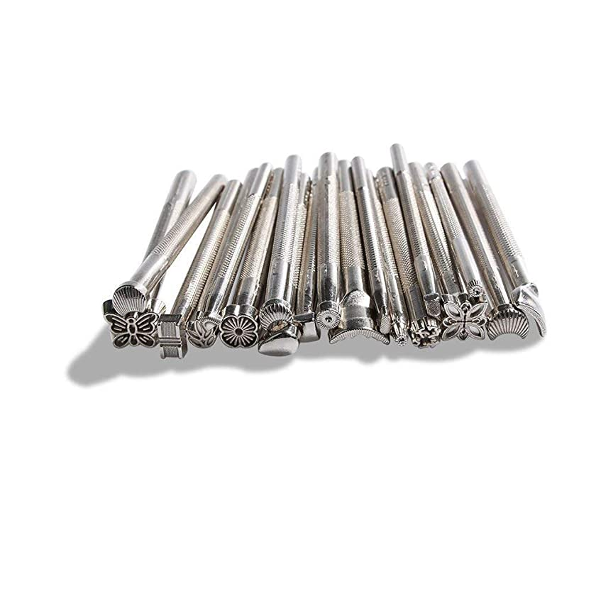 BANYOUR Leather Working Saddle Making Tools DIY Leather Craft Stamps Set 20pcs Silver