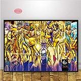Póster Comic Movie Gift Saint Seiya Japón Anime Impresión De Dibujos Animados Pintura Al Óleo Arte De La Pared Cuadro De La Lona Living Home Room Decor 50 × 70Cm Sin Marco