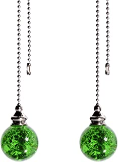 2PCS Green Pull Chain Crystal Glass Ice Cracked Ball Pull Chain for Ceiling Fan Light Decoration 50cm Extension Chain