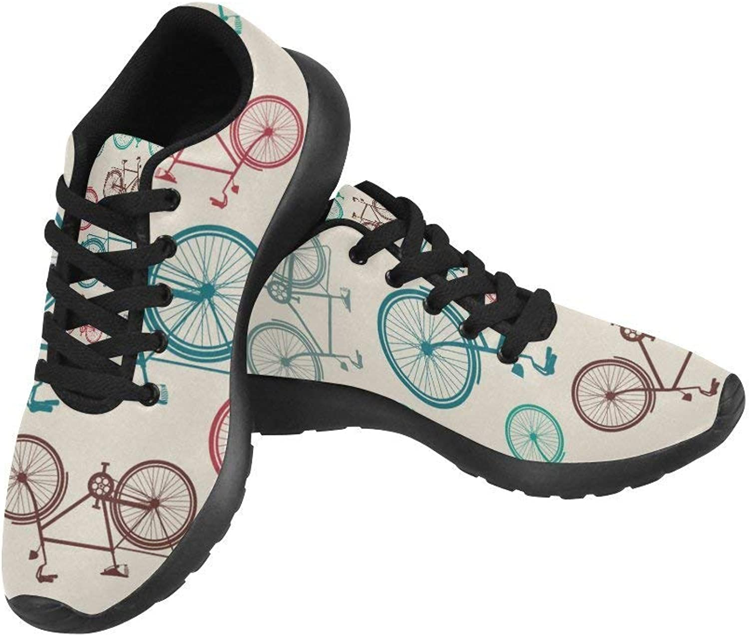 InterestPrint Colourful Vintage Bike Women's Running shoes Casual Lightweight Athletic Sneakers US Size 6-15