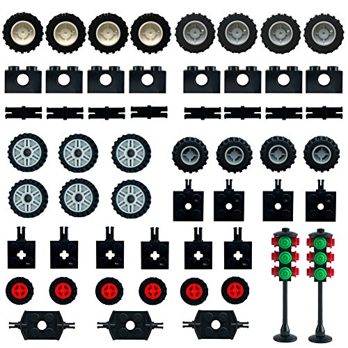 Wheels and Axles,Traffic Light ,Tires Bulk Lot - Building Bricks Block Education Wheels Set Toy Compatile with Major Brands