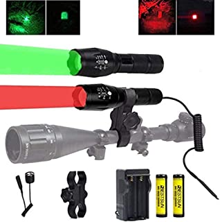 BESTSUN 350 Yard Red and Green LED Coyote Hog Hunting Flashlight Light with Pressure Switch & Scope Mount, Zoomable Green and Red Light Predator Varmints Hog Night Hunt Tactical LED Flashlights