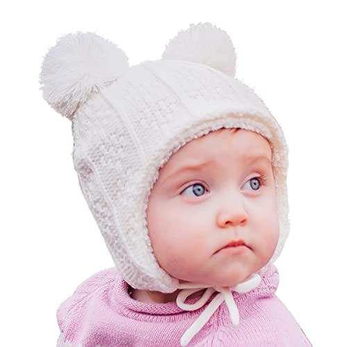 a6f6910a322 Baby Toddler Fleece Lined Winter Earflap Beanie Cream Bear Hat