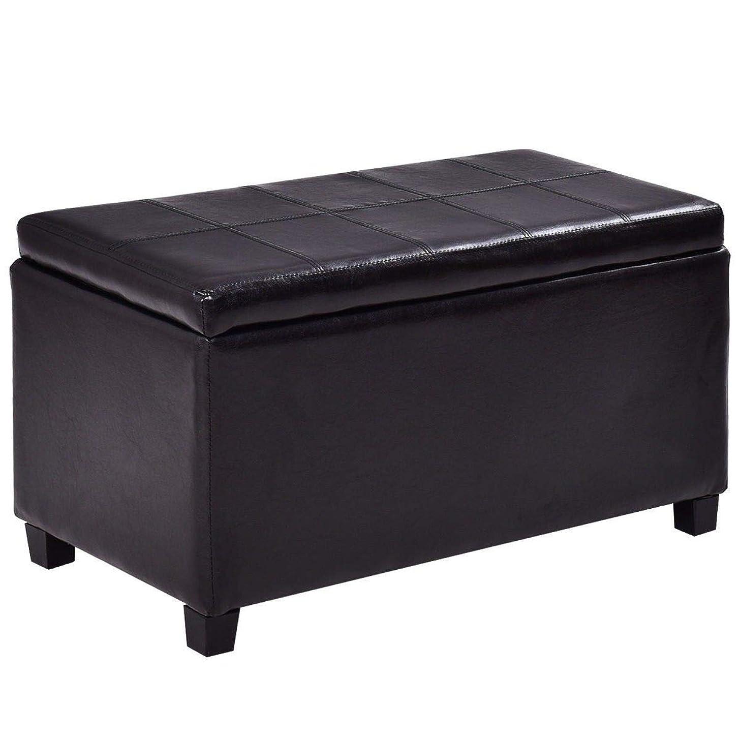 Black Large PU Leather Bench Pouffe Box Lounge Storage Seat Storage Chest Storage Ottoman Bench Home Bedroom Large Footstool Organizer Furniture(U.S. Stock)