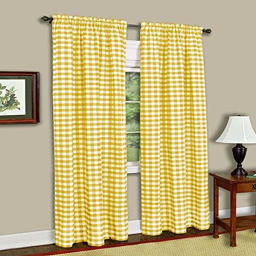 "Achim Home Furnishings, Yellow & White Buffalo Check Window Curtain Single Panel, 42"" x 63"""