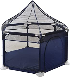Playpen Tent Large Breathable Yard Fence Play Yard with Zipper Door and Mosquito Net Outdoor Indoor Exercise Fence Blue and Red Balls Not Included