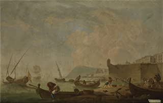 The Polyster Canvas Of Oil Painting 'Sanchez Mariano Ramon Vista De Barcelona Por El Este Ca. 1787 ' ,size: 16 X 25 Inch / 41 X 64 Cm ,this High Definition Art Decorative Prints On Canvas Is Fit For Powder Room Gallery Art And Home Gallery Art And Gifts
