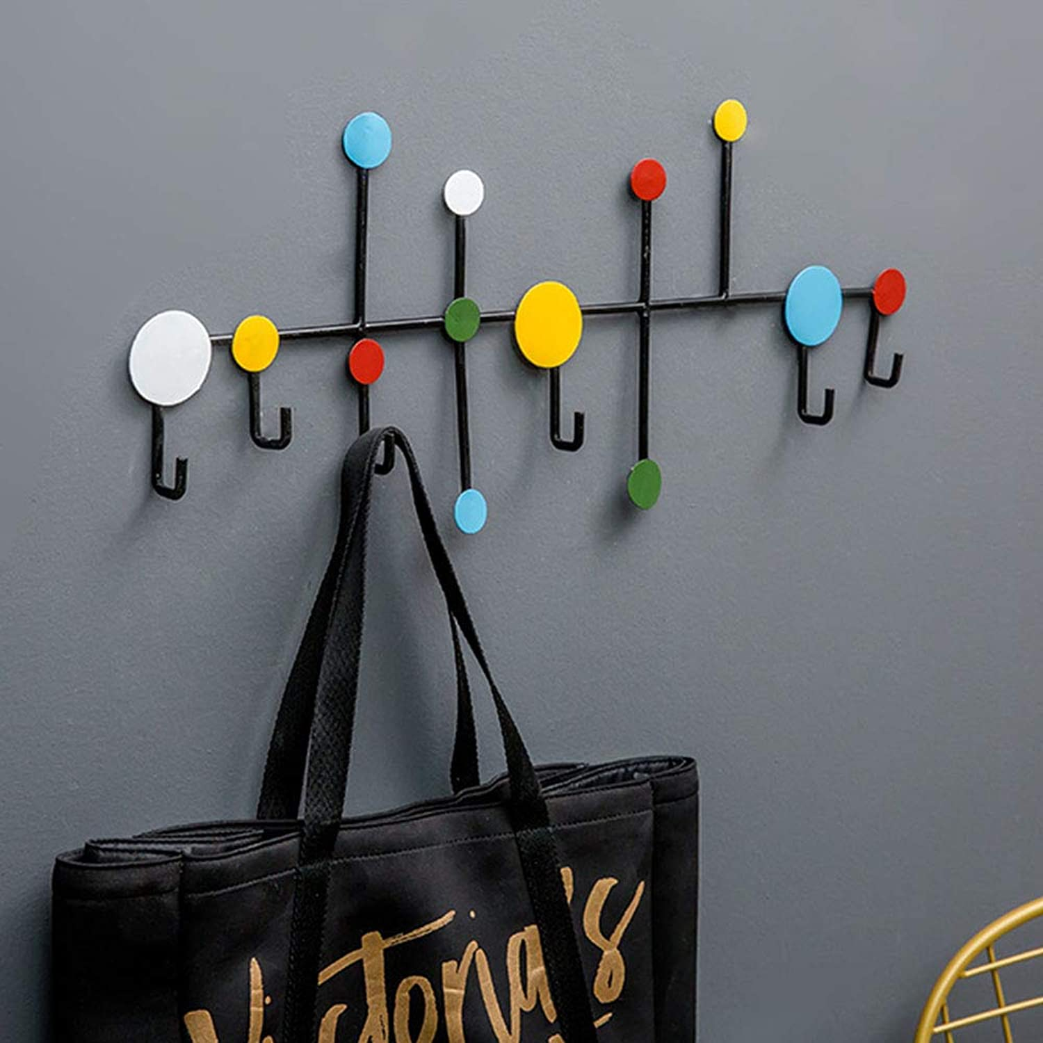 Chunlan Coat rack Wall-Mounted Handmade Cast Iron Coat Rack, 59cm, 6 Hooks, Kitchen Porch Rack, 2 colors (color   colorful colors)