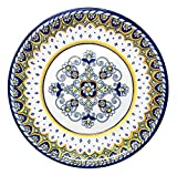 Le Cadeaux 212SOR Sorrento Melamine Dinner Plate, Set of 4, Navy & White