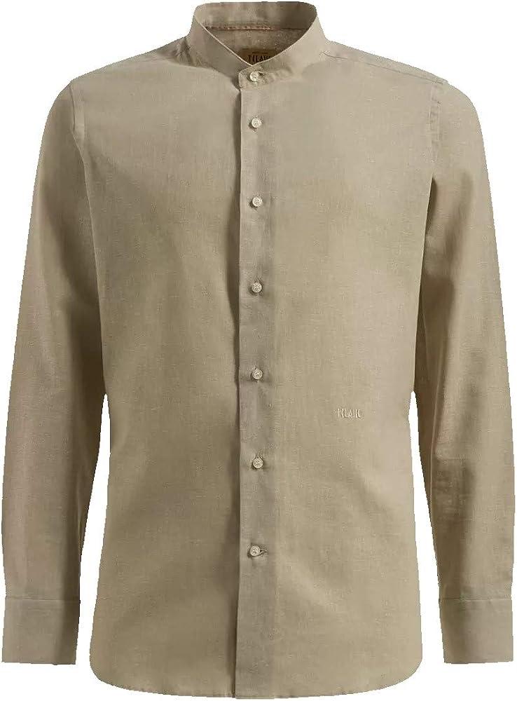 Alviero martini, camicia slim, colletto  coreana da uomo, 55% lino, 45% cotone U1331UE420936