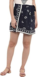 KVL Womens Viscose Woven Printed Short Skirt - Navy