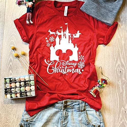 X-Small/Red/Disney Christmas Castle//Disney Christmas T Shirt/Screen Printed W. Eco Ink/Cool T Shirt/Disney Trip T Shirt/Unisex Fit From Bella Canvas/Crew-Neck Shirt/Free Shipping/