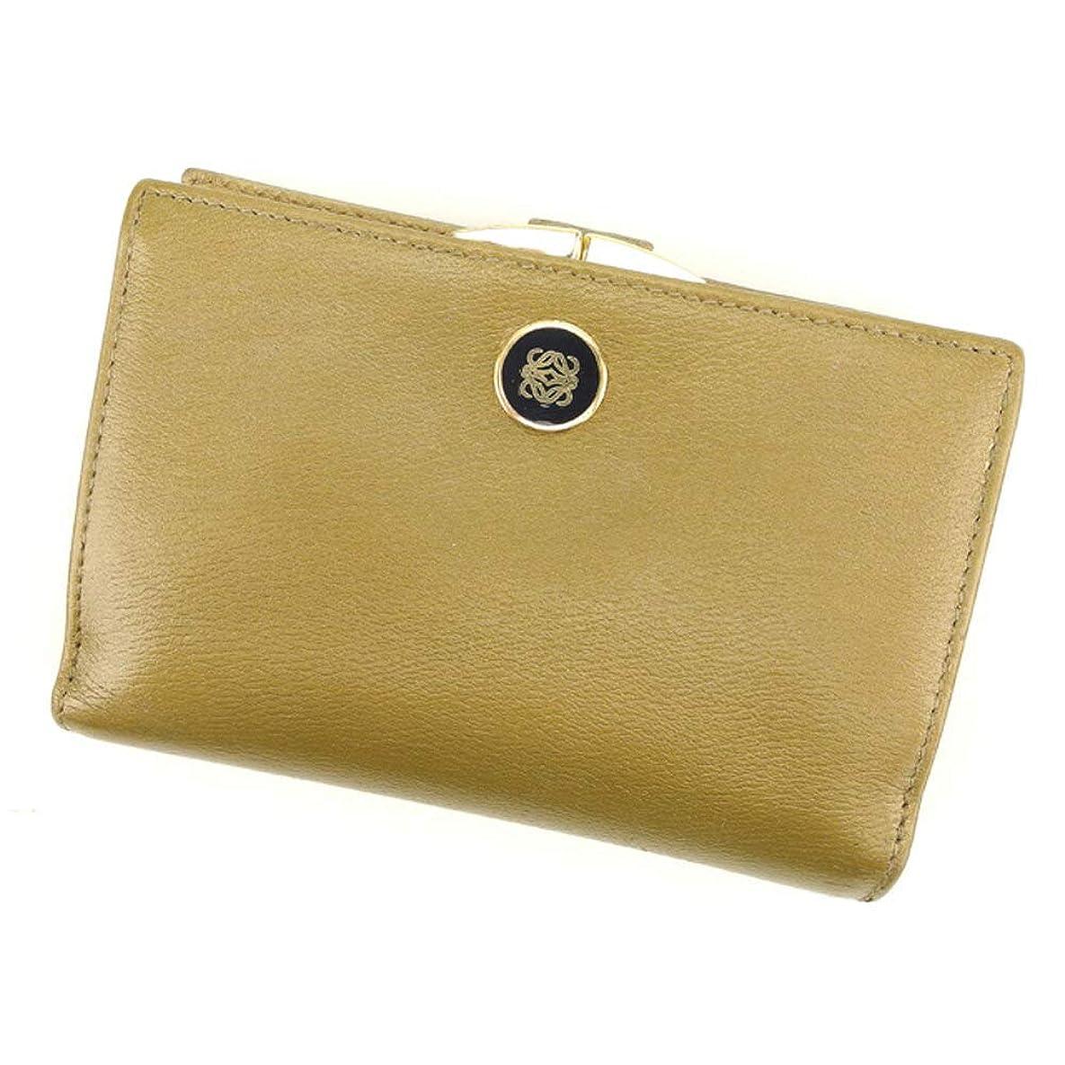 怖がって死ぬ醸造所規制(ロエベ) Loewe がま口 財布 二つ折り ゴールド ブラック アナグラムボタン レディース メンズ 中古 T8001
